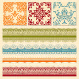 Seamless  Floral Patterns and Lacy Ribbons Royalty Free Stock Photo