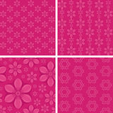 Seamless floral patterns on pink background. Patterns for your design projects: banners, business cards, posters, textiles Royalty Free Stock Images
