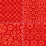 Seamless floral patterns on red background. Patterns for your design projects: banners, business cards, posters, textiles Royalty Free Stock Image