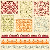 Seamless  Floral Patterns and Ribbons Royalty Free Stock Image