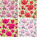 Seamless floral patterns with roses on a light backgrounds. Color illustration for your design projects Royalty Free Stock Image