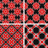 Seamless floral patterns. Set of black 3d backgrounds with red elements. Vector illustration Stock Photography