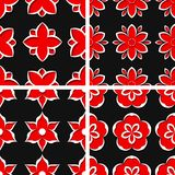 Seamless floral patterns. Set of black 3d backgrounds with red elements. Vector illustration Royalty Free Stock Images