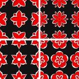 Seamless floral patterns. Set of black 3d backgrounds with red elements. Vector illustration stock illustration