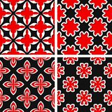 Seamless floral patterns. Set of black 3d backgrounds with red elements. Vector illustration Stock Image