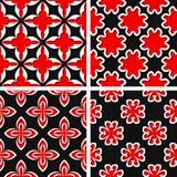 Seamless floral patterns. Set of black 3d backgrounds with red elements. Vector illustration vector illustration