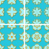 Seamless floral patterns. Set of bright blue 3d backgrounds with orange elements. Vector illustration Stock Photography