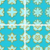 Seamless floral patterns. Set of bright blue 3d backgrounds with orange elements. Vector illustration royalty free illustration