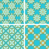 Seamless floral patterns. Set of bright blue 3d backgrounds with orange elements. Vector illustration Royalty Free Stock Photos