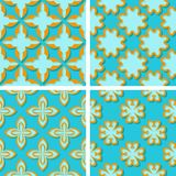 Seamless floral patterns. Set of bright blue 3d backgrounds with orange elements. Vector illustration stock illustration