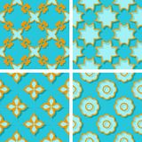 Seamless floral patterns. Set of bright blue 3d backgrounds with orange elements. Vector illustration Stock Images