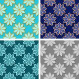 Seamless floral patterns. Set of colored 3d backgrounds. Vector illustration Royalty Free Stock Images