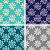 Seamless floral patterns. Set of colored 3d backgrounds. Vector illustration royalty free illustration