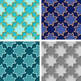 Seamless floral patterns. Set of colored 3d backgrounds. Vector illustration Royalty Free Stock Photography