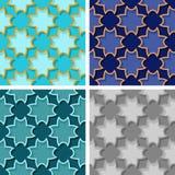 Seamless floral patterns. Set of colored 3d backgrounds. Vector illustration stock illustration