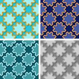 Seamless floral patterns. Set of colored 3d backgrounds. Vector illustration Stock Photo