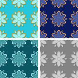 Seamless floral patterns. Set of colored 3d backgrounds. Vector illustration Stock Photography