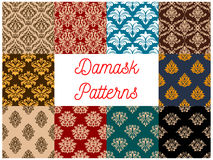 Seamless floral patterns set with damask ornaments Royalty Free Stock Photography