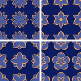 Seamless floral patterns. Set of deep blue 3d backgrounds with orange elements. Vector illustration Royalty Free Stock Photography
