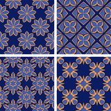 Seamless floral patterns. Set of deep blue 3d backgrounds with orange elements. Vector illustration Royalty Free Stock Images