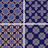 Seamless floral patterns. Set of deep blue 3d backgrounds with orange elements. Vector illustration stock illustration