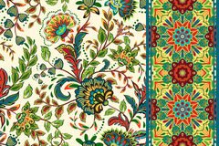 Seamless Floral Patterns Set. Vintage Flowers Backgrounds And Borders With Leave. Vector Ornaments. Royalty Free Stock Images
