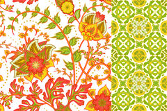 Seamless floral patterns set. Vintage flowers backgrounds and borders with leave. Vector ornaments.  Royalty Free Stock Photos