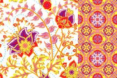 Seamless floral patterns set. Vintage flowers backgrounds and borders with leave. Vector ornaments.  Royalty Free Stock Photography
