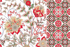 Seamless floral patterns set. Vintage flowers backgrounds and borders with leave. Vector ornaments royalty free stock photos