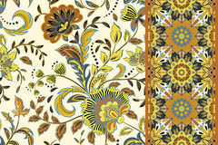 Seamless floral patterns set. Vintage flowers backgrounds and borders with leave. Vector ornaments. Seamless floral patterns set. Vintage flowers backgrounds Stock Photography