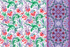 Seamless floral patterns set. Vintage flowers backgrounds and borders Vector Stock Photography