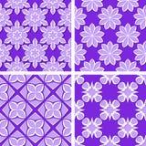 Seamless floral patterns. Set of violet 3d backgrounds. Vector illustration. Seamless floral patterns. Set of violet 3d backgrounds Stock Photography