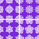Seamless floral patterns. Set of violet 3d backgrounds. Vector illustration. Seamless floral patterns. Set of violet 3d backgrounds Royalty Free Stock Photos