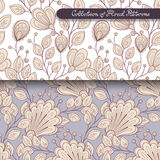 Seamless Floral Patterns. (Vector). Hand Drawn Floral Textures, Decorative Flowers, Coloring Book Royalty Free Stock Image