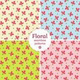 Seamless floral patterns. Vector illustration. Set of seamless floral patterns with delicate pink flowers. Vector illustration Stock Photos