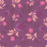 Seamless floral patterns. Seamless floral patterns on violet background Stock Photos