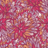 Seamless floral pink doodle pattern Royalty Free Stock Images