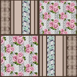 Seamless floral pink roses pattern patchwork striped background Stock Images