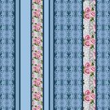 Seamless floral pink roses pattern retro striped background Royalty Free Stock Photo