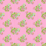 Seamless Floral on Pink Stripes Stock Photos