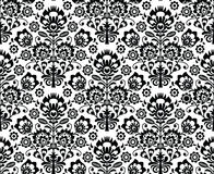 Seamless floral polish pattern in black and white Royalty Free Stock Photography