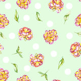 Seamless floral polka dot pattern with the watercolor purple and yellow exotic flowers (peony) and green leaves Stock Photography