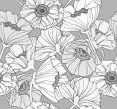 Seamless floral poppy pattern Stock Photos