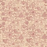 Seamless floral print canvas background in vector. Seamless floral print canvas background (pattern, wallpaper), fabric texture visible royalty free illustration