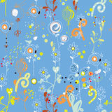 Seamless floral repeat pattern in blue colors Royalty Free Stock Image
