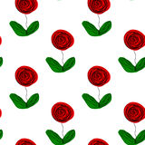 Seamless floral repetitive pattern hand drawn abstract roses green leaves white background, textile, quilt, patchwork vector illustration