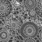 Seamless floral retro doodle black and white. Seamless asian ethnic floral retro doodle black and white background pattern in vector. Henna paisley mehndi vector illustration