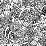 Seamless floral retro doodle black and white Stock Photography
