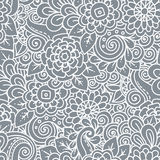 Seamless  floral retro doodle black and white pattern in vector. Royalty Free Stock Images