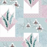 Seamless floral retro patchwork .Orchid flowers, tropical leaves, polka dot pattern. vector illustration
